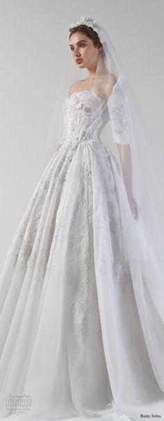 basil soda 2017 bridal strapless half sleeves straight across neckline heavily embellished princess ball gown a  line wedding dress royal train (10) zv -- Basil Soda 2017 Wedding Dresses