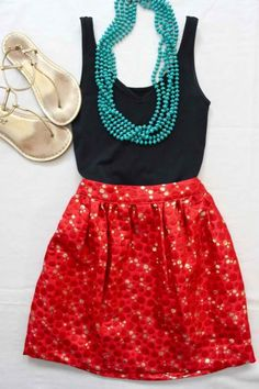 Red, turquoise, black, gold. Fun color combo for summer.