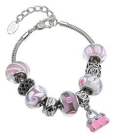 Look what I found on #zulily! Silvertone Murano Purse Bracelet With Pink Swarovski® Crystals #zulilyfinds
