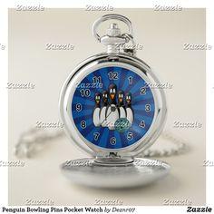 Penguin Bowling Pins Pocket Watch