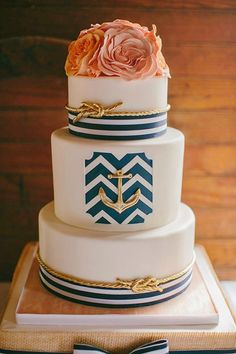 unqiue navy nautical glamour metallic wedding cakes
