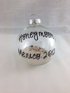 Save sand from our wedding to make an ornament! Personalized Custom GLASS Honeymoon Keepsake by BellaCuttery, $10.00