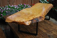 Live Edge Sycamore Slab Coffee Table