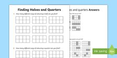 Finding halves and quarters Activity Sheet Activity Sheets, Classroom Displays, Numeracy, Hands On Activities, Math Resources, Fractions, Worksheets, Kindergarten, Year 2