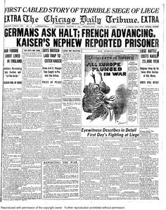 Aug. 8, 1914: Germans ask halt, French advancing, Kaiser's nephew reported prisoner.