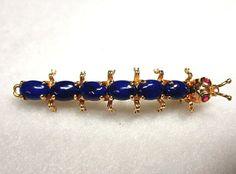 Vintage 14K Gold Lapis Lazuli Caterpillar Bug Pin Maruwa Co.