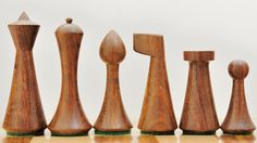 Reproduced Modern Mid Century Minimalist Hermann Ohme wooden weighted Chess Set…