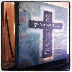 No Greater Love - Scripture Art - Christian Art - Ready to Ship - Acrylic Painting - Easter - Wood Cross. $23.00, via Etsy.