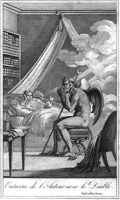 Jacques Collin de Plancy depicted as having a discussion with the Devil. Illustration from 'Diable Peint par Lui-même, 1825 Cant Sleep At Night, When You Cant Sleep, A History Of Magic, Art History, Illustrations, French Artists, Gravure, Conte, Dark Art
