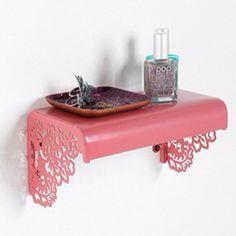 Little ornate pink shelf Baby Shelves, Pink Shelves, Metal Shelves, Shelving, Dream Bedroom, Girls Bedroom, Bedroom Ideas, Home Decor Furniture, Diy Home Decor