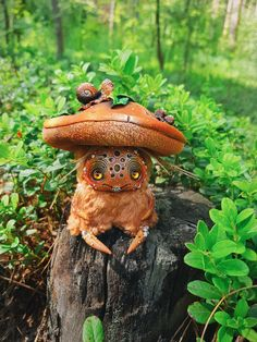Polymer Clay Mushroom, Easy Polymer Clay, Polymer Clay Dolls, Mushroom Decor, Mushroom Art, Forest Creatures, Fantasy Creatures, Handmade Toys, Handmade Art