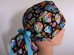 e4cc1ab7d9d Sugar Skulls Pinatas Ponytail - Womens lined surgical scrub cap
