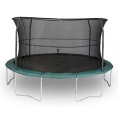"""14Ft Big Trampoline With Net Enclosure comes with free shipping. The Jumpking trampoline has a distinctive top rail system which makes the product easy to assemble. The trampoline's enclosure poles are easily attached to its frame using a unique T-connector. The company has also included """"G3"""" poles that suspend the netting to keep it in place as the child plays. Click on the image above and check out some of the other striking features about this trampoline."""