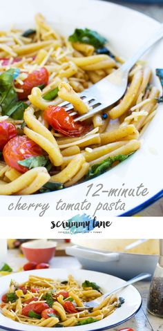 Need a dinner idea in a hurry? Make this cherry tomato pasta! Yummy Pasta Recipes, Quick Dinner Recipes, Vegetarian Recipes Easy, Healthy Recipes, Noodle Recipes, Delicious Recipes, Easy Recipes, Cherry Tomato Pasta, Cherry Tomatoes
