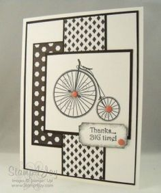 This old fashioned bicycle is part of the Timeless Talks stamp set and looks great on this handmade thank you card. Use dynamic black and white patterns along with black and white layers.