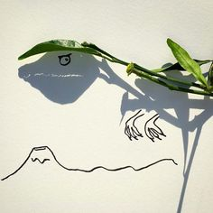 """""""Artist Vincent Bal Turns the Shadows of Everyday Objects into Ingenious Illustrations"""" - so inspiring! Shadow Drawing, Shadow Art, Shadow Play, Long Shadow, Light And Shadow, Paper Drawing, Funny Illustration, Illustrations, Creative Illustration"""