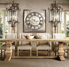 Salvaged wood trestle table from Restoration Hardware - Decoist home decore Dinning Room Tables, Dining Room Design, Trestle Dining Tables, Dining Rooms, Large Dining Tables, Natural Wood Dining Table, Farm Tables, Wood Tables, Side Tables
