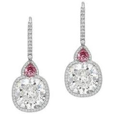 Custom Diamond Platinum Drop Earrings