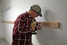 BEST DIY Garage Shelves (Attached to Walls) : Easy and Fast DIY Garage or Basement Shelving for Tote Storage (Attached to Walls) Wooden Garage Shelves, Diy Garage Storage Cabinets, Wood Storage Shelves, Basement Shelving, Garage Organization Tips, Garage Storage Shelves, Building Garage Shelves, Garage Shelf, Tote Storage