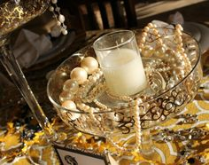 Outstanding Great Gatsby Party Ideas for Youngster Great Gatsby Prom, Great Gatsby Theme, Gatsby Themed Party, Great Gatsby Fashion, Themed Parties, Great Gatsby Party Decorations, Prom Decor, Party Centerpieces, Pearl Centerpiece