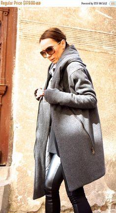 SALE NEW Extra Warm Qilted Winter Asymmetric Extravagant Grey