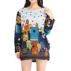 Fashion spring Autumn new women's Cute cartoon Pattern big size loose comfortable 20 styles style girl's Thin sweater knitwear