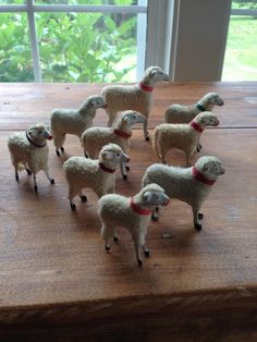 9 Putz Germany Collar German Wooly Sheep Christmas Easter Stick Legged