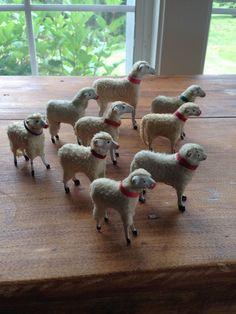 9 Putz Germany Collar German Wooly Sheep Christmas Easter Stick Legged