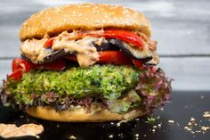 You don't feel like eating your veggies today? Just eat this green monster veggie burger with grilled eggplant and vegan sun-dried tomato mayo instead!