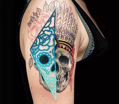 Indian Skull tattoo by Chris Rigoni