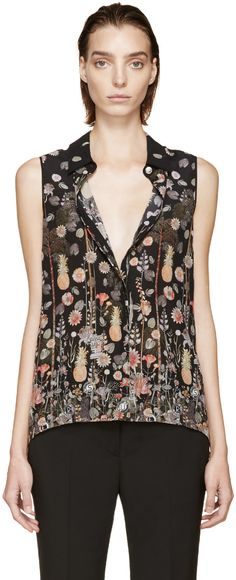 Versus Black Patterned Anthony Vaccarello Edition Flared Blouse