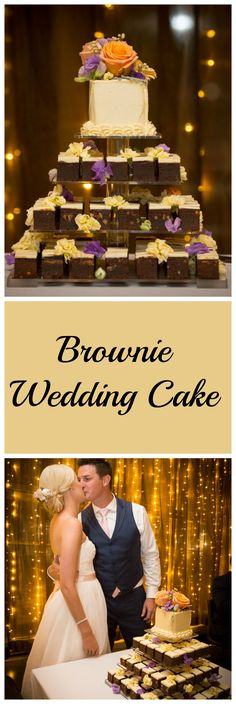 Brownie Wedding Cake - a very sweet start! Creative Wedding Cakes, Cool Wedding Cakes, White Wedding Cakes, Wedding Desserts, Wedding Reception Decorations, Wedding Table, Brownie Wedding Cakes, Brownie Cake, Next Wedding