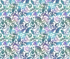 cats in the garden fabric by mira_belle on Spoonflower - custom fabric