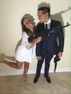 Couple's Halloween costume The Purge