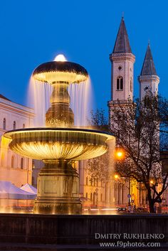 Superb View of fountain and Ludwigskirche Munich Germany