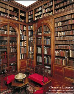 """The Garrett Library at Evergreen House. Historical museum and part of the Rare Books and Manuscripts Department  of Johns Hopkins University in Baltimore, Maryland, USA. http://en.wikipedia.org/wiki/Evergreen_Museum_&_Library """"Evergreen's ballroom-sized 1928 library addition by Lawrence Hall Fowler included a dumbwaiter to lower the rare coin collection into the vault.  http://tdclassicist.blogspot.com/2012/05/more-on-baltimore.html   Tours available. Well worth it. A lovely site. -pfb"""