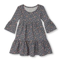 Toddler Girls Elbow Flared Sleeve Floral Print Tiered Knit Dress