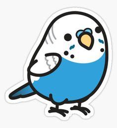 Chubby Blue Budgie Sticker