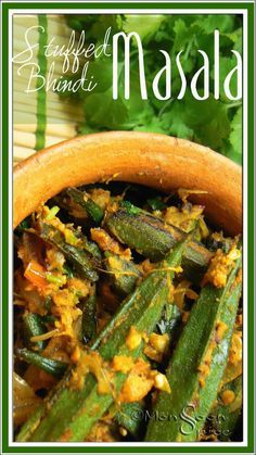 Stuffed Bhindi Masala: My Okra Love Affair Indian Vegetable Recipes, Indian Food Recipes, Vegan Recipes, Ethnic Recipes, Yummy Recipes, South Indian Food, Okra, Kid Friendly Meals, Spicy