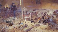 The Ipatiev House after the murder of the Royal Family. Painting by Pavel Ryzhenko.  Romanov-Memorial.com