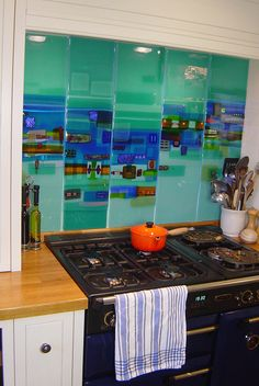 Kitchen Glass panels commission by www.kimbramley.co.uk