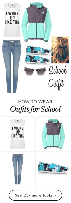 """""""School outfit """" by turnt14 on Polyvore featuring The North Face, Levi's, Private Party, TOMS, Ray-Ban, women's clothing, women's fashion, women, female and woman"""