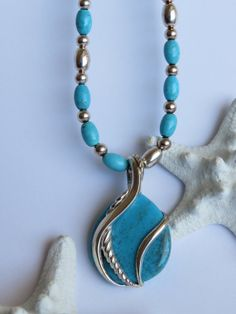 Vintage turquoise and sterling silver enhancer by Olablingola, $44.50