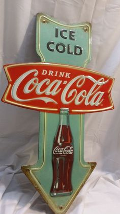 Coca Cola Sign Ice Cold Fishtail Arrow Vintage Styling Drink Coke Pepsi Crush Auctions starting at a Penny! Click the image above to view!