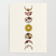Floral Phases of the Moon Poster by - Moon phases - Et Tattoo, Tattoo Drawings, Body Art Tattoos, Art Drawings, Peace Tattoos, Tatoos, Fases Da Lua Tattoo, Moon Phases Drawing, Moon Phases Art
