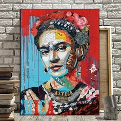 Frida Kahlo Canvas/Posters/Oil Painting Pictures Printed for Wall Art Decor/ Home Living /Bedroom/Office Decoration/The Mexican Painter Collage Kunst, Collage Art, Collages, Art Pop, Painting Wallpaper, Painting & Drawing, Street Art, Kahlo Paintings, Art Visage