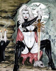 lady death by laniosena on DeviantArt Fantasy Art Women, Beautiful Fantasy Art, Dark Fantasy Art, Fantasy Girl, Comic Art Girls, Comics Girls, Pinup, Cholo Art, Dark Artwork