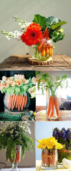 Easter table: A carrot bouquet What are your plans for Easter? Are you hosting this year? If so, here is a little tip on how to make your Easter table look incredi. Party Table Centerpieces, Table Arrangements, Decoration Table, Floral Centerpieces, Floral Arrangements, Easter Centerpiece, Vegetable Bouquet, Deco Floral, Easter Table