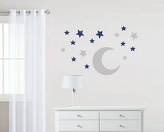 Moon and Stars Fabric Wall Stickers - Wall Decal Kids Wall Decals, Wall Stickers, Kids Room, Nursery, Stars, Fabric, Prints, Etsy, Moon