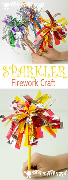 Celebrate New Year's Eve, Bonfire Night, Fourth of July and birthday parties with a fun Sparkler Firework Craft for kids. FIREWORK CRAFT - here's a fun and kid safe Sparkler Firework Craft for your July festivities. Bonfire Night Activities, Bonfire Night Crafts, New Years Activities, Bonfire Crafts For Kids, Activities For Children, Diwali Activities, Autumn Activities For Kids, New Year's Eve Crafts, Carnival